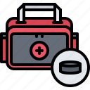 aid, first, hockey, medicine, player, sport icon