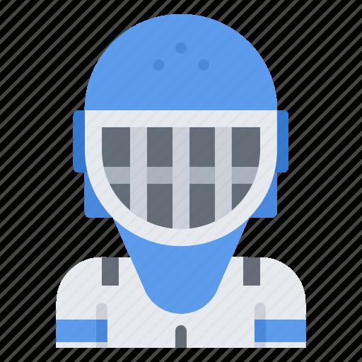 goalkeeper, helmet, hockey, mask, player, sport icon