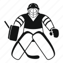 goalie, helmet, hockey, hockey goalkeeper, ice, sport, stick icon