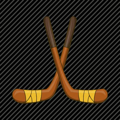 cartoon, equipment, game, hockey, sport, stick, team icon