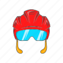 cartoon, head, helmet, hockey, mask, sport, team icon