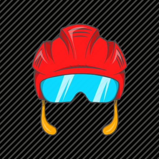 cartoon, head, helmet, hockey, mask, sport, team icon