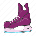 cartoon, equipment, hockey, ice, skate, sport, winter icon