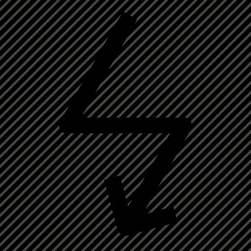 arrow, flash, light, zigzag icon