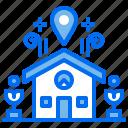 home, house, hut, location, navigation, pin