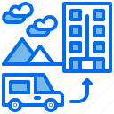 car, hotel, mountain, transport, travelling, vacation, villa icon