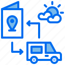 car, location, pasport, travelling, vacation icon