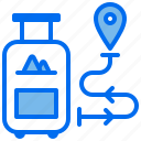 location, navigation, suitcase, travelling, vacation icon