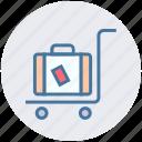airport, bag, cart, luggage, luggage cart, travel bag, trolley