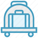 airport, bag, cart, luggage, luggage cart, travel bag, trolley