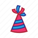 birthday, hat, new year icon
