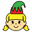 elf, girl, smile icon