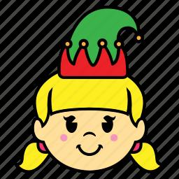 elf, girl, smile icon