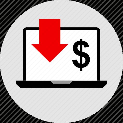 dollar, low, sales icon