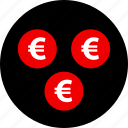 coins, euro, money, sign icon