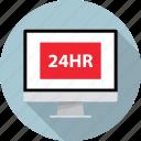 four, hours, monitor, open, pc, twenty icon