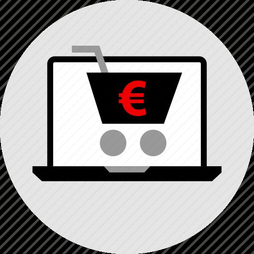 cart, euro, laptop, shopping icon