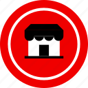 front, small, store icon