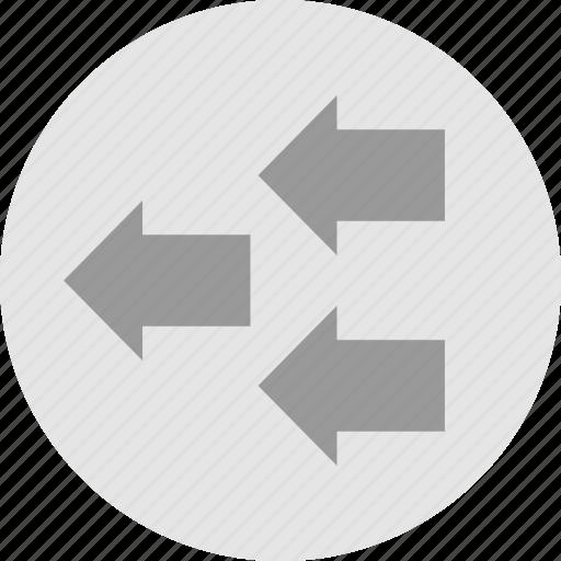 arrows, left, three icon
