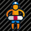 child, kid, lifebuoy, swim, swimmer, swimming icon