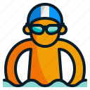 holiday, sea, sport, summer, swimmer, swimming icon