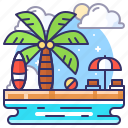 beach, party, summer, sunbath icon
