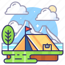 camping, mountain, nature, tent icon