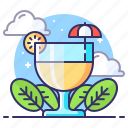 cocktail, drink, glass, lemon icon