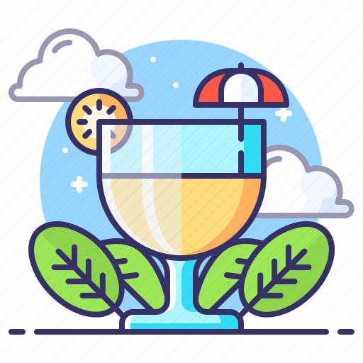 cocktail, drink, glass, lemon icon