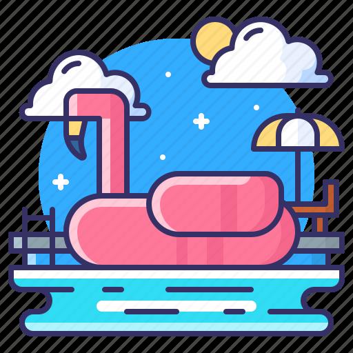 flamingo, float, party, pool icon