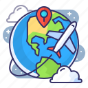 destination, flight, travel, world icon