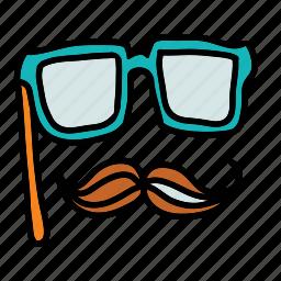 festival, glasses, hidden, hipster, mask icon