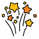birthday, festival, party, splash, stars icon