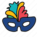 festival, hidden, holiday, mask icon