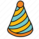 birthday, cone, hat, party icon