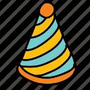 birthday, cone, hat, party icon