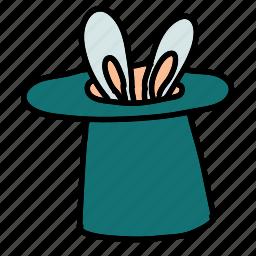 bunny, circus, hat, magic icon