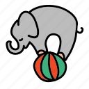 ball, circus, elephant, holidays, playing, show icon