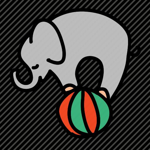 ball, circus, elephant, holidays, playing, show icon