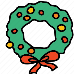 christmas, holidays, wreath, xmas icon