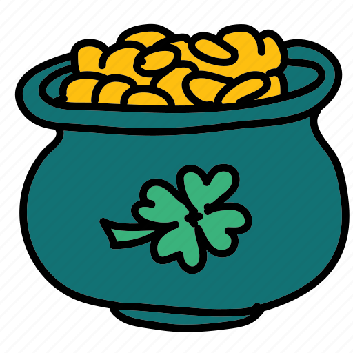 clover, gold, good luck, luck, money, pot icon