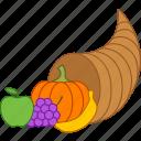 abundance, basket, cornucopia, harvest, horn, plenty, thanksgiving