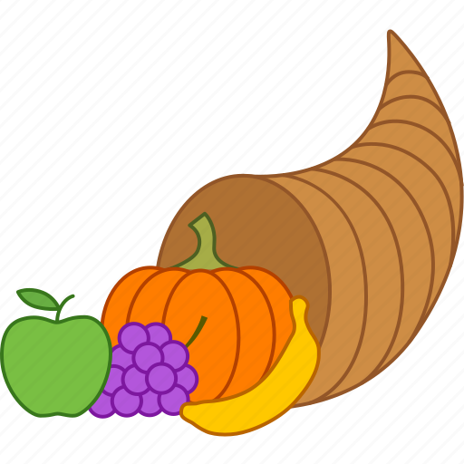 abundance, basket, cornucopia, harvest, horn, plenty, thanksgiving icon