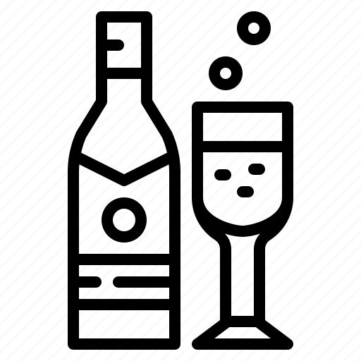 alcohol, beverage, bottle, champagne icon