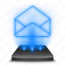 chat, email, envelope, hologram, holographic, mail, message icon