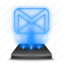envelope, gmail, hologram, holographic, inbox, letter, mail icon
