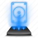 computer, data, database, harddisk, hardware, hdd, hologram icon