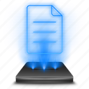 data, document, file, format, hologram, holographic, note icon