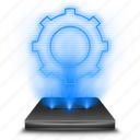 configuration, gear, hologram, options, preferences, settings, system icon