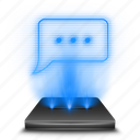 chat, communication, conversation, hologram, message, sms, text icon